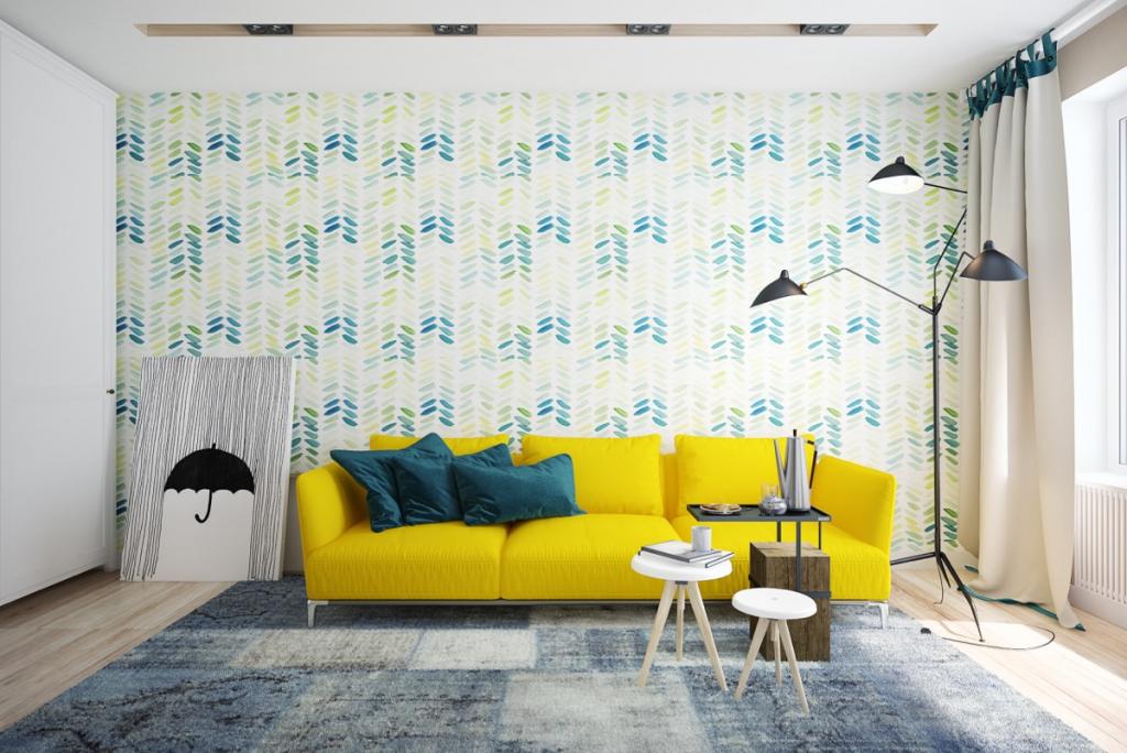 Inspiração: a cor forte do sofá é complementada com os tons de azul e cinza, com destaque para a luminária de chão ramificada em três pontos